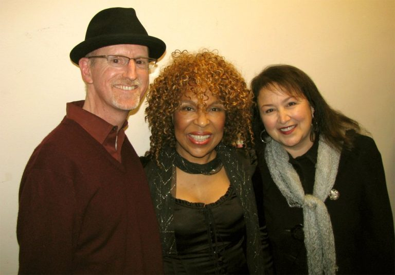 Mike Waters & wife posing with Roberta Flack backstage